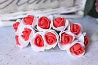 Розочки латекс (ФОМ) 2 см диаметр мини 144 шт. оптом бело-красного цвета на стебле, фото 1