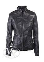 Черная кожаная куртка женская со вставками, фото 1
