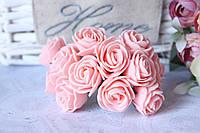 Букетик розочек 2,8-3 см диаметр мини 144 шт. розово-персикового цвета  на стебле оптом
