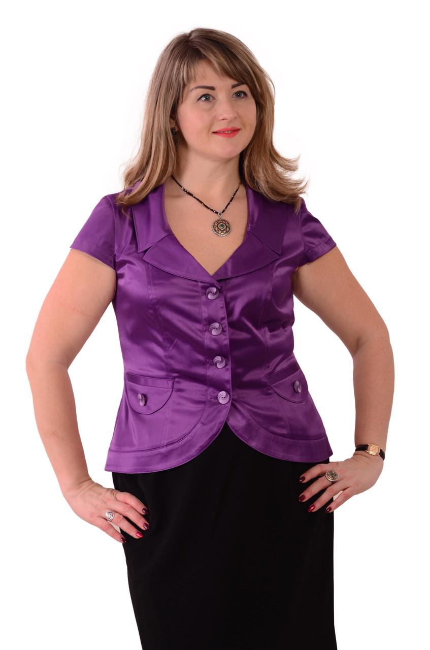 Жакет +с коротким рукавом фиолетовый атласный нарядный.