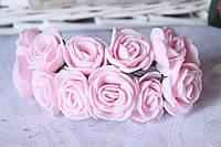 Букетик розочек 2.5-2,8 см диаметр мини 144 шт. нежно-розового цвета  на стебле оптом