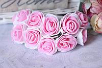 Букетик розочек 2.5-2,8 см диаметр мини 144 шт. бело-розовогоцвета на стебле оптом
