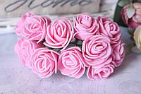 Букетик розочек 2.5-2,8 см диаметр мини 144 шт. розового цвета на стебле оптом