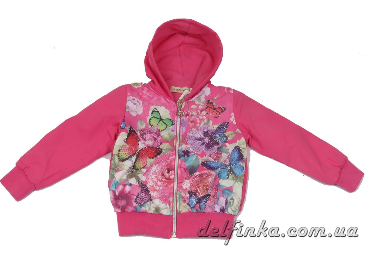 Ветровка на флисе  для девочек  3-7 лет цвет  розовый, фото 1