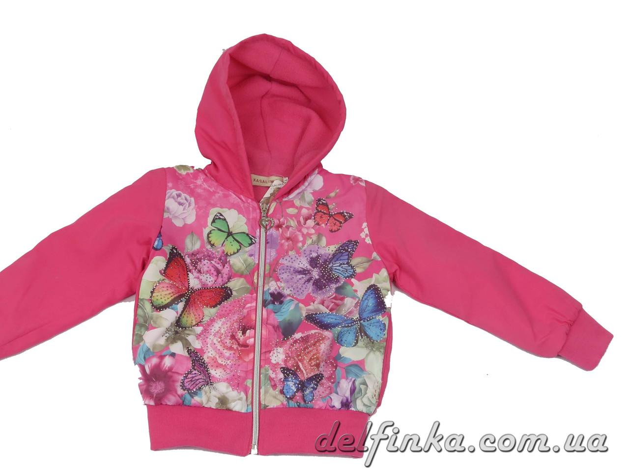 Ветровка на флисе  для девочек  3-7 лет цвет  розовый, фото 2