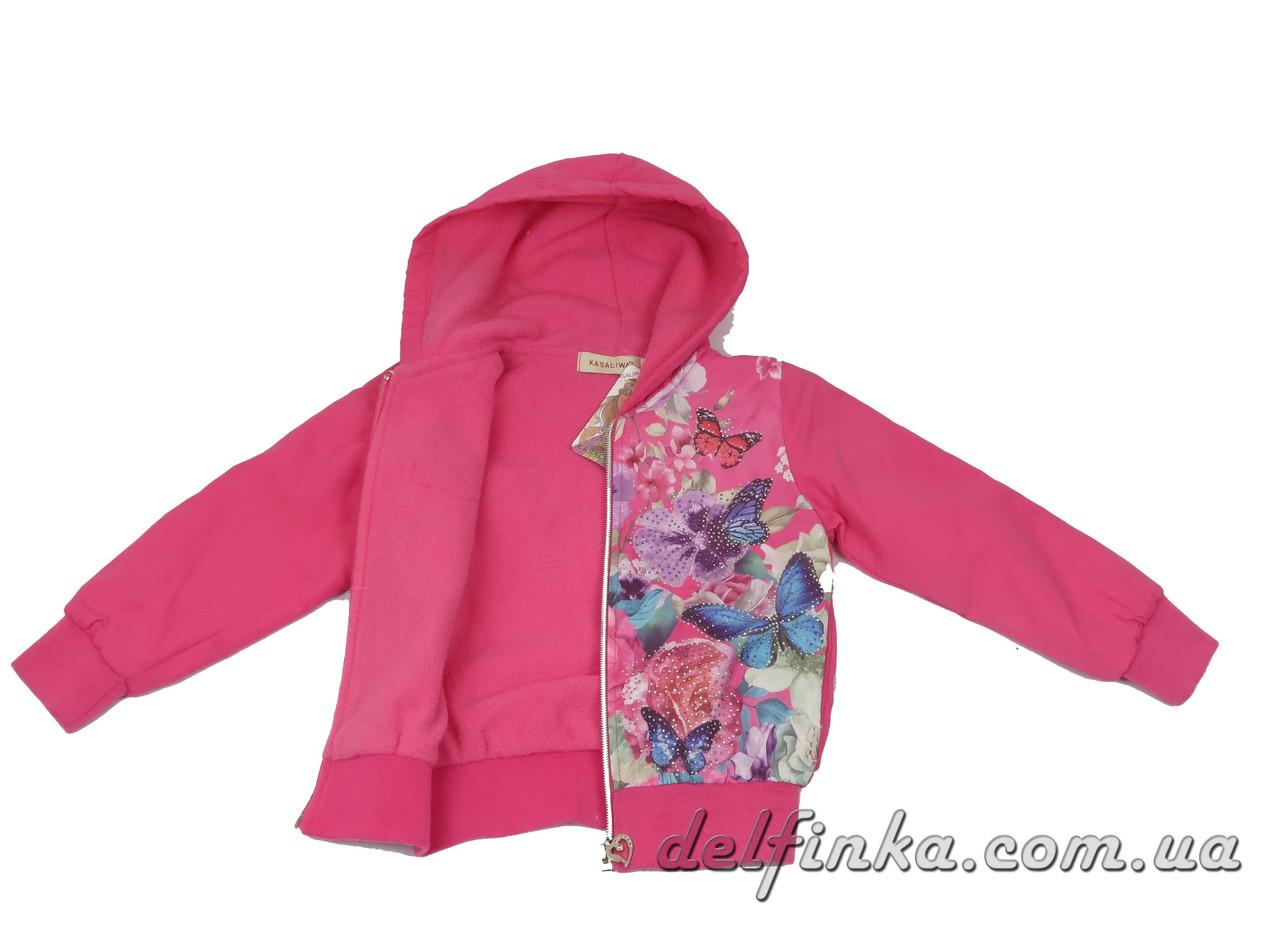 Ветровка на флисе  для девочек  3-7 лет цвет  розовый, фото 3