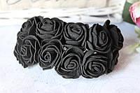 Букетик розочек 2.5-2,8 см диаметр мини 144 шт. черного цвета  на стебле оптом, фото 1