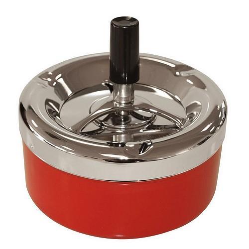 Пепельница 49013 металл/хром/красный, д=11 см