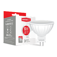 LED лампа MAXUS 5W MR16(500Lm) яскраве світло 220V GU5.3 AP (1-LED-512) (NEW)