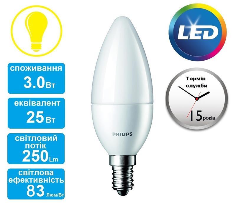 Лампа светодиодная PHILIPS_CorePro LEDcandle 3-25W(250Lm) E14 827_B39 FR