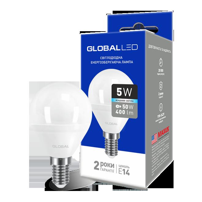 LED лампа GLOBAL G45 F 5W яскраве світло 220V E14 AP (1-GBL-144) (NEW)