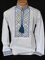 Детская вышиванка с голубой вышивкой
