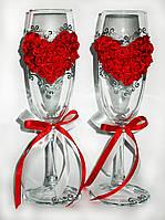 """Свадебные  бокалы """"Сердце из роз"""""""