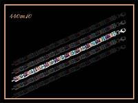 """Арт 440 """"Браслет серебряный женский с золотом топазом и аметистом """""""