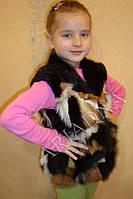 Жилет детский из меха лисы и стриженной нутрии 50 см  для детей 2-6 лет, фото 1