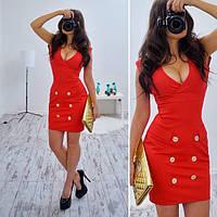 Платье модное стильное c пуговицами и V-образным вырезом SMB128