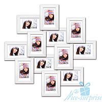 Фоторамка Изумруд на 12 фото 10х15, антибликовое стекло (белый)