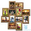 Фоторамка Нэйла на 12 фотографий 10х15, брашированная, антибликовое стекло (светлое дерево)