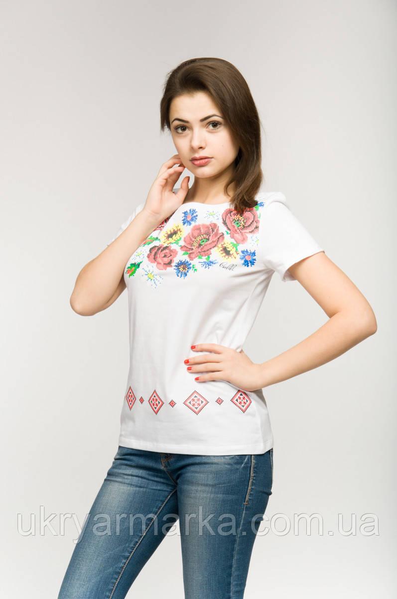 """Женская вышитая футболка """"Цветочная"""""""
