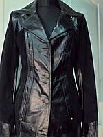 Пиджак из натуральной кожи  с замшем на пуговицах чёрный  длина-65см 44р ОГ-88 ОБ-92