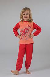 Піжама дитяча утеплена для дівчинки (корал-персик)