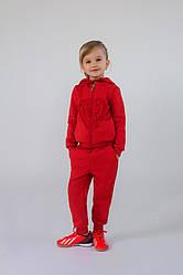 Теплый спортивный костюм для девочки коралловый