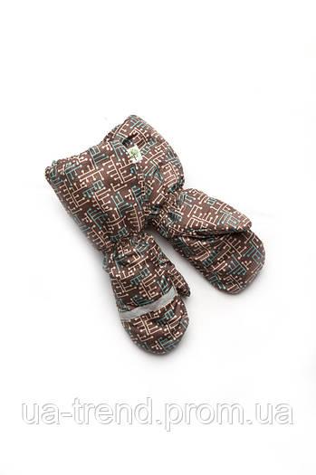 Рукавицы краги зимние для мальчика непромокаемые на меху (коричневые)