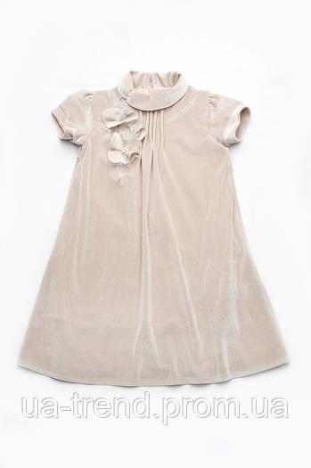 Детское нарядное платье для девочки бархат (бежевое)
