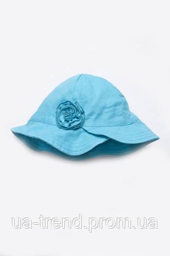 Панама для девочки с цветком (голубой лен)