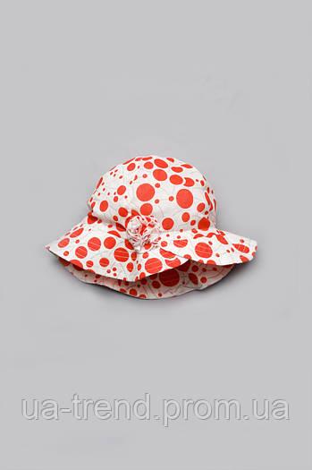 Панамка для девочки с цветком (красный горох)
