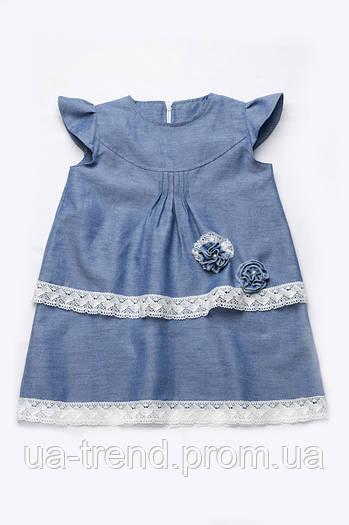 Нарядное платье с кружевом (хлопок деним)