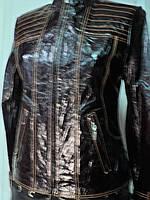 Куртка из натуральной кожи на молнии коричневая длина 55см 44р ОГ-86 ОБ-88