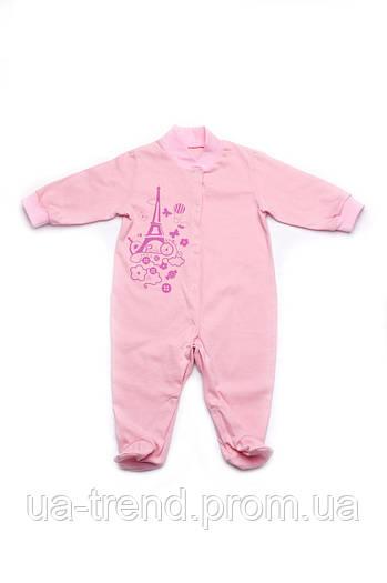 Летний человечек(комбинезон) для девочки розовый