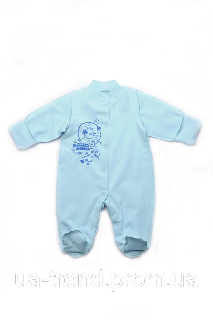 Комбинезон человечек для новорожденного мальчика из хлопка