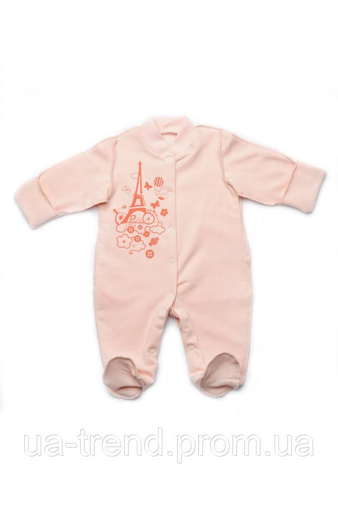 Комбинезон человечек для новорожденных девочек из хлопка
