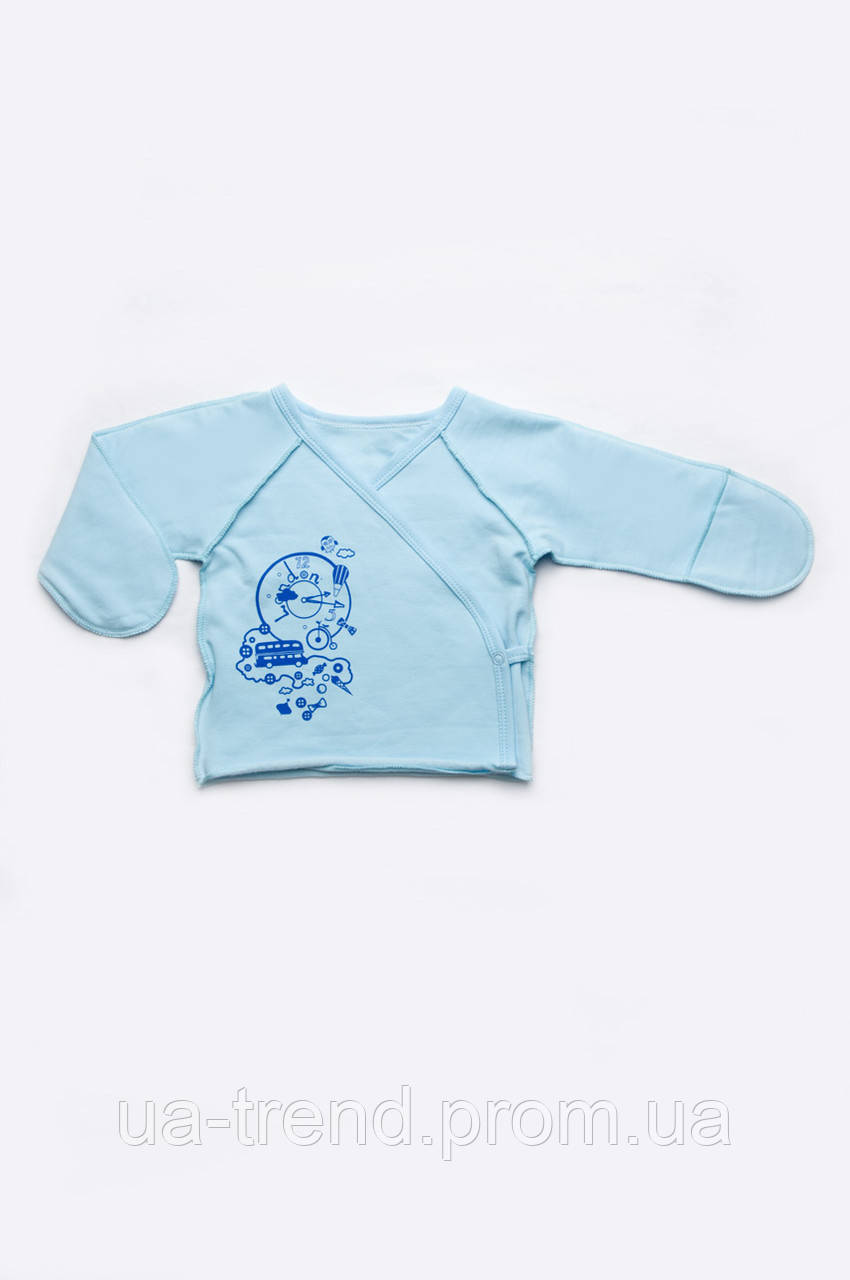 Распашонка для новорожденного мальчика из хлопка