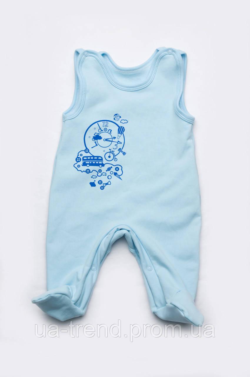 Высокие ползунки для новорожденного мальчика из хлопка
