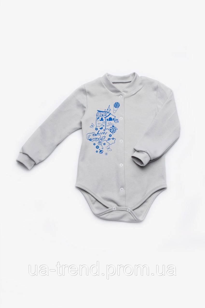 Боди детское для новорожденного с длинным рукавом  унисекс