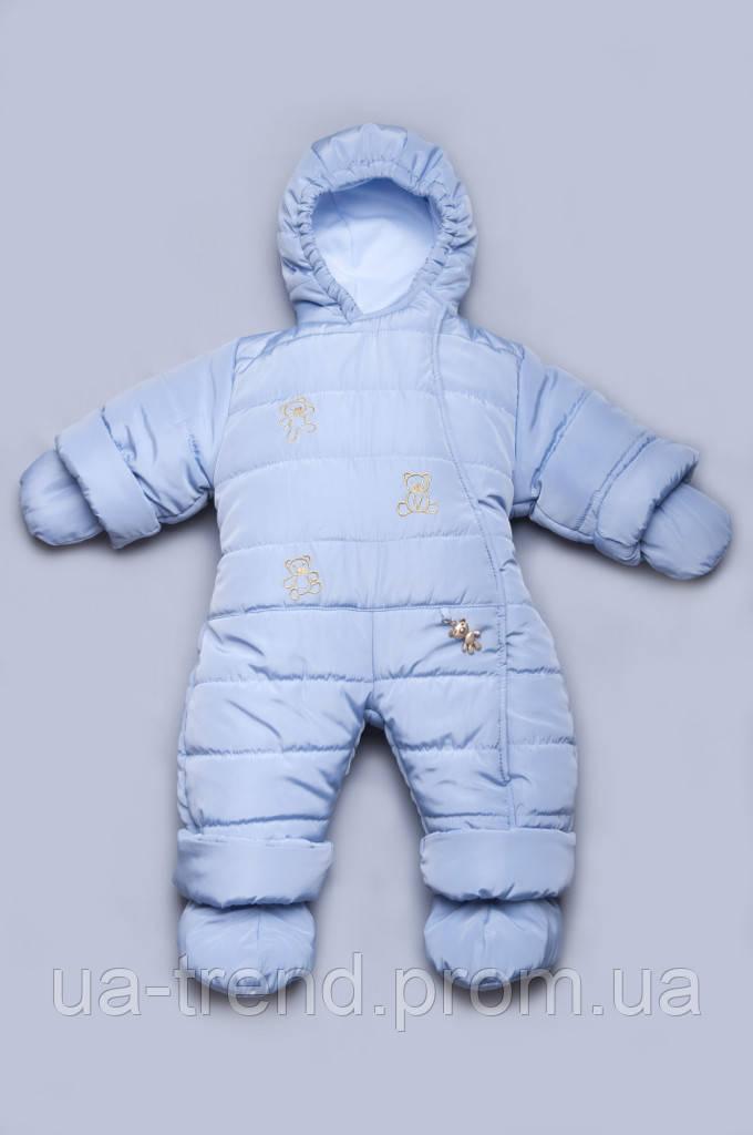 Детский зимний комбинезон голубой