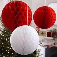 """Бумажные шары """"Honeycomb""""20 см. красные"""