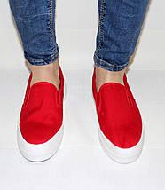 Женские  слипоны на толстой подошве красные, фото 2