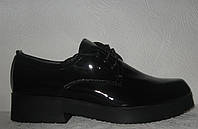 Туфли лоферы женские черные лаковая кожа