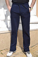Качественные мужские трикотажные спортивные брюки 7002 (трехнитка) | Синие