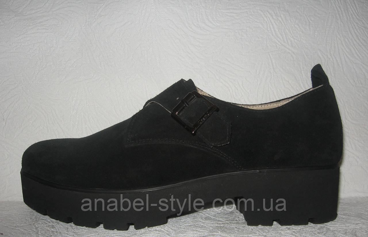 Туфли оксфорды женские натуральная замша