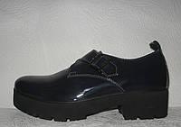 Туфли оксфорды женские лаковые натуральная кожа тёмно-синие