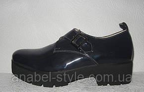 Туфли оксфорды женские лаковые натуральная кожа тёмно-синие, фото 2