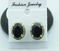 Сережки с английским замочком черный камень в миниатюрных стразах