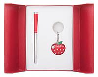 Подарочный набор ручка и брелок Мелия красный