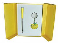 Подарочный набор ручка и брелок Мелия желтый