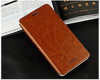 Кожаный чехол книжка Mofi для Lenovo A916 коричневый